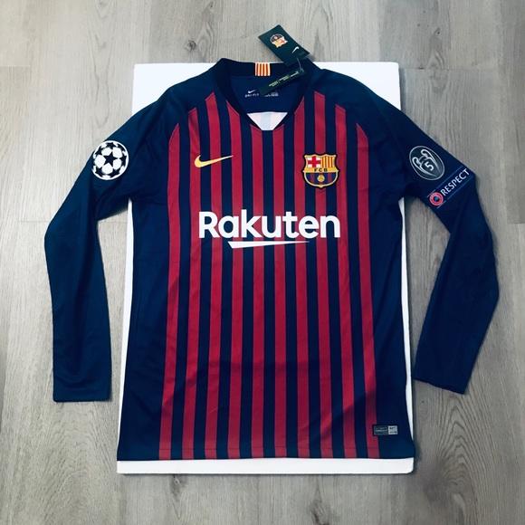 sports shoes 68f3a 6d6a7 Leo Messi long Sleeve jersey Barcelona home NWT